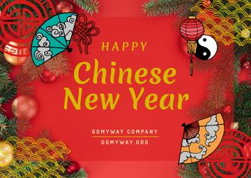 Chinese New Year Greeting Asian Symbols | Card Template