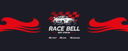 Race Stream Ad with Racing Car illustration Twitch Profile Banner Modelo de Design