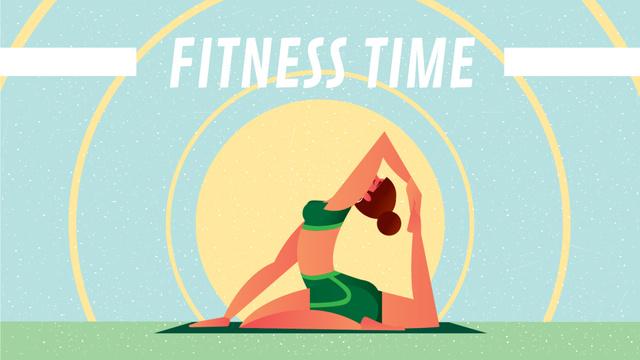 Woman Practicing Yoga at Sunrise Full HD video Design Template