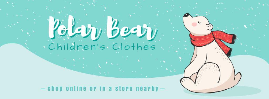 Polar Bear in Scarf Sitting Under Snow — Maak een ontwerp