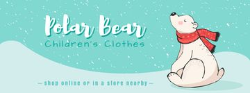 Polar Bear in Scarf Sitting Under Snow | Facebook Video Cover Template