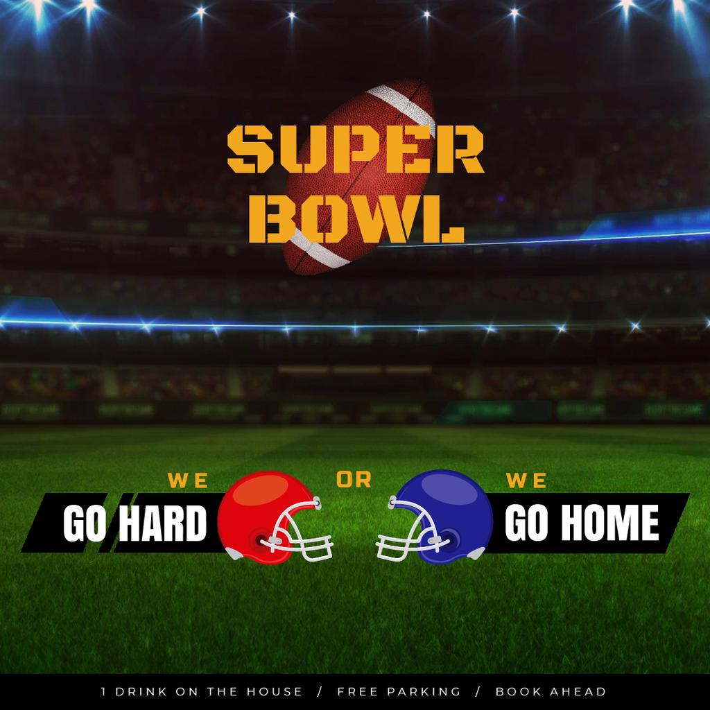 Super Bowl Match Announcement with Rugby Ball on Field — ein Design erstellen