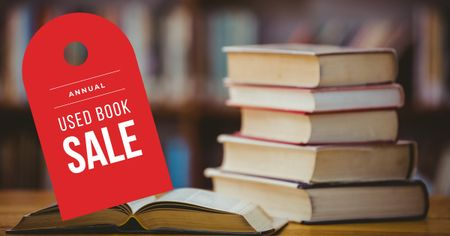 Stack of books on table Facebook AD Design Template