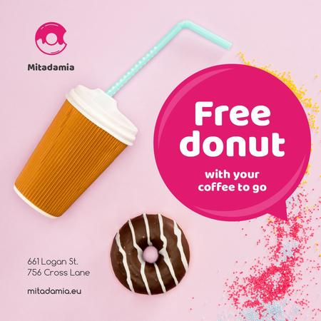 Plantilla de diseño de Donut and Coffee in Pink Instagram
