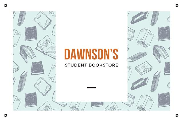 Plantilla de diseño de Student Bookstore with Books illustration Gift Certificate