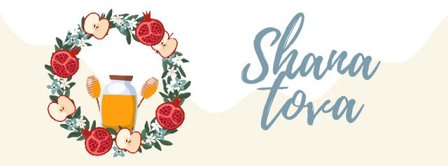 Rosh Hashanah holiday wreath Facebook Video cover Design Template