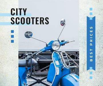 Blue Retro Scooter in Blue | Large Rectangle Template