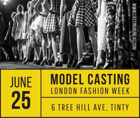 Model Casting announcement with Girls in line Facebook Modelo de Design