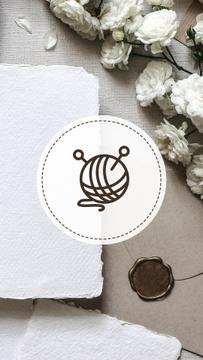 Tailor and Handmade equipment icons on flowers