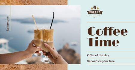 Coffee Offer Toasting with Latte in Glasses Facebook AD Modelo de Design
