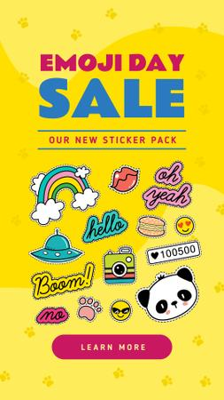Emoji Day Sale Stickers Set on Yellow Instagram Story – шаблон для дизайна