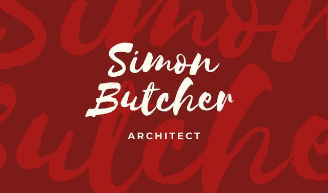 Architect Services Offer in Red Business card Modelo de Design