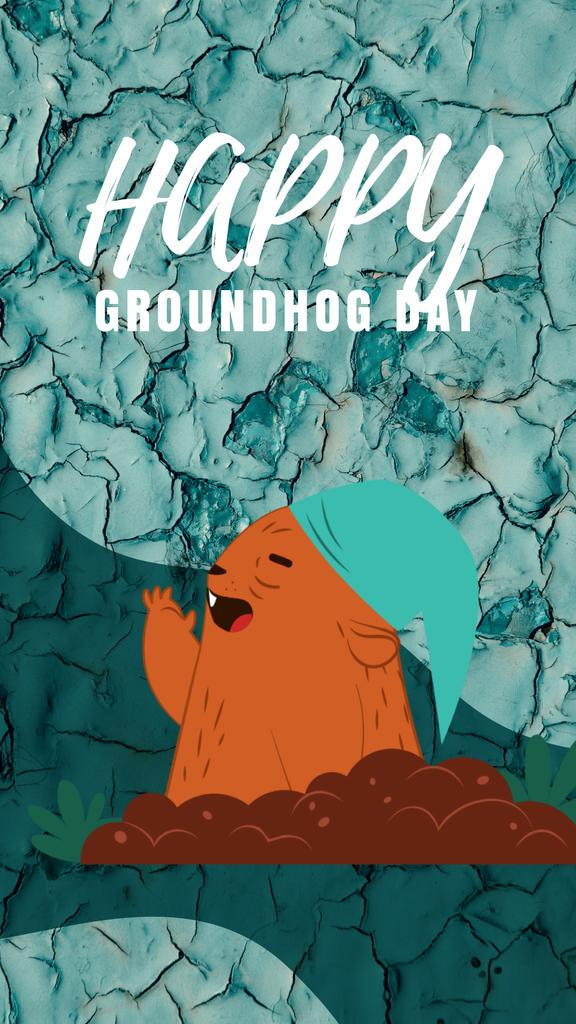 Happy Groundhog Day with funny animal — Create a Design