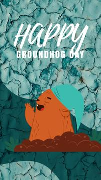 Happy Groundhog Day Cute Funny Groundhog | Vertical Video Template