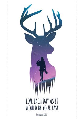 Template di design Motivational quote with Deer and Man silhouette Poster