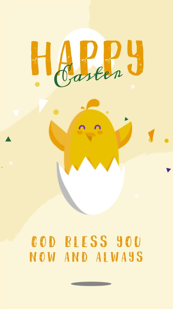 Easter Greeting Chick Hatching from Egg | Vertical Video Template — Modelo de projeto