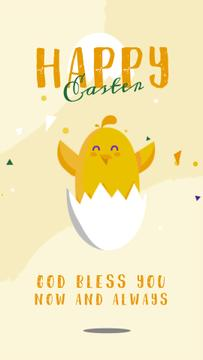 Easter Greeting Chick Hatching from Egg