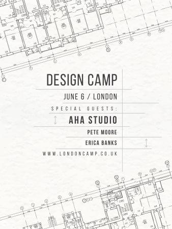 Design camp announcement on blueprint Poster US Modelo de Design
