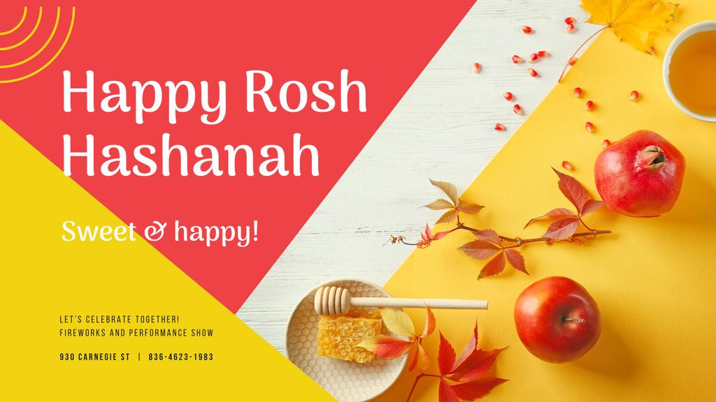 Rosh Hashanah Greeting Apples with Honey — Modelo de projeto