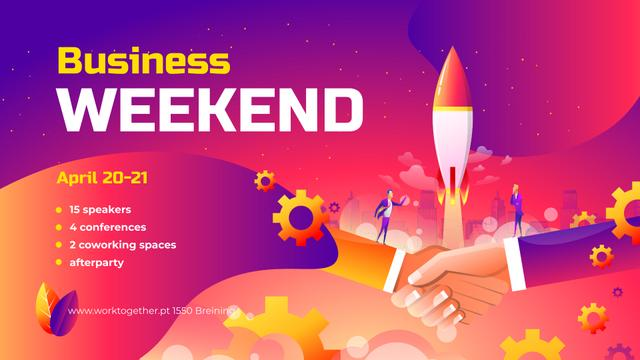 Business Conference announcement Businessmen launching Startup FB event cover – шаблон для дизайну