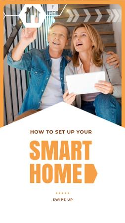Couple Using Smart Home Application Instagram Story Modelo de Design