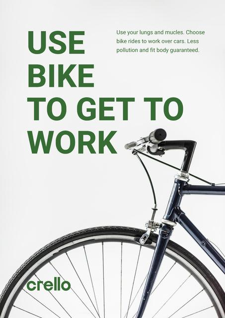 Ecological Bike to Work Concept Poster Design Template