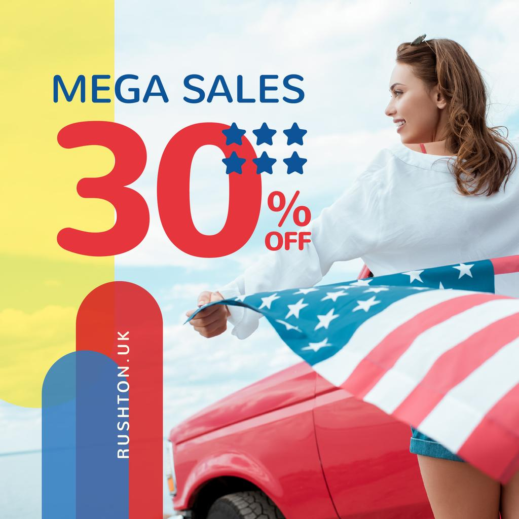 Independence Day Sale Ad Girl with Flag by Car — Créer un visuel