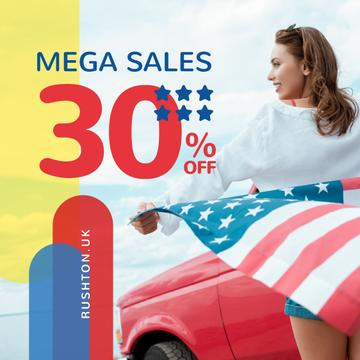 Independence Day Sale Ad Girl with Flag by Car | Instagram Post Template