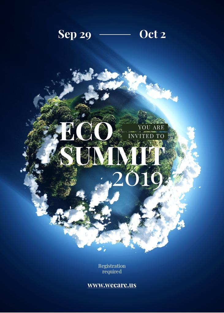 Eco summit ad on Earth view from space — Modelo de projeto