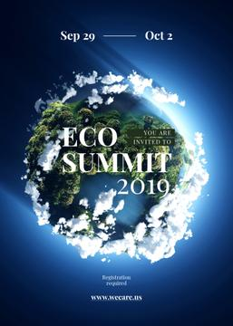 Eco summit ad on Earth view from space