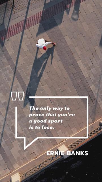 Sporting Quote Man Training in City Instagram Video Story Modelo de Design