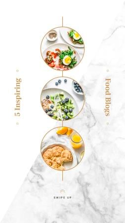 Set of healthy meals Instagram Story Design Template