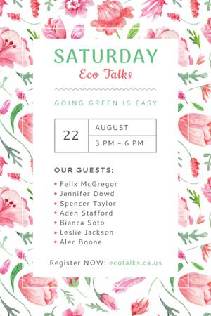 Template di design Ecological Event Announcement with Watercolor Flowers Pattern Pinterest