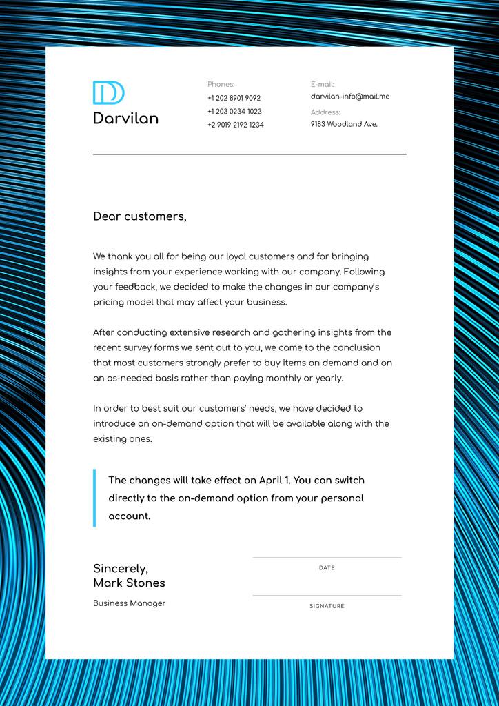 Business Company changes notification — Modelo de projeto