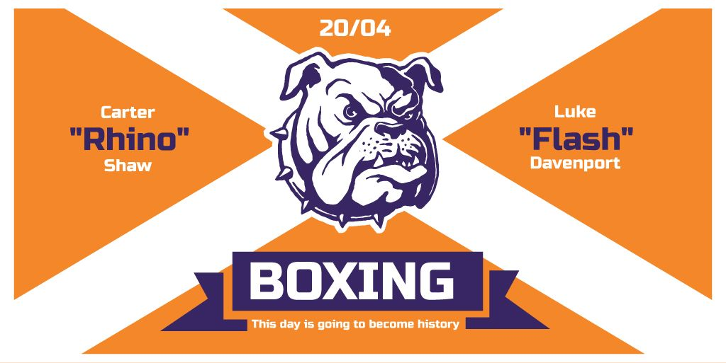 Boxing Match Announcement Bulldog on Orange | Twitter Post Template — Создать дизайн
