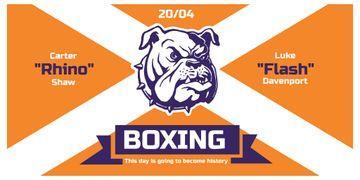 Boxing Match Announcement Bulldog on Orange | Twitter Post Template