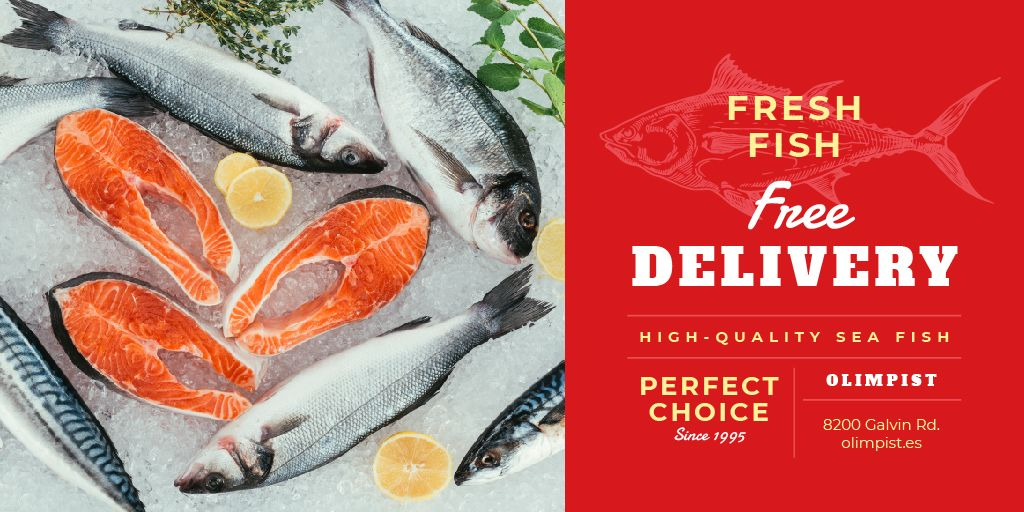 Food Delivery Services Fresh Raw Fish | Twitter Post Template — Створити дизайн