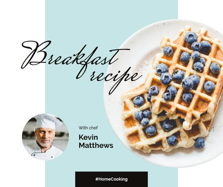 Breakfast Recipe Ad with Tasty Waffle Facebook Modelo de Design