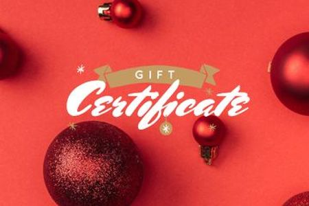 Modèle de visuel Christmas Gift Offer with Shiny Red Baubles - Gift Certificate
