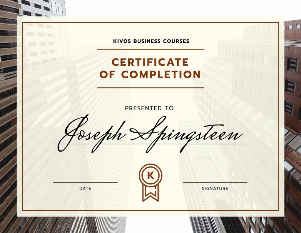 Business Courses Program Completion with modern buildings —デザインを作成する