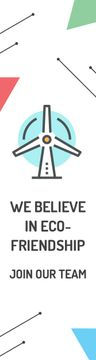 Eco-friendship Concept Wind Turbine Icon | Wide Skyscraper Template