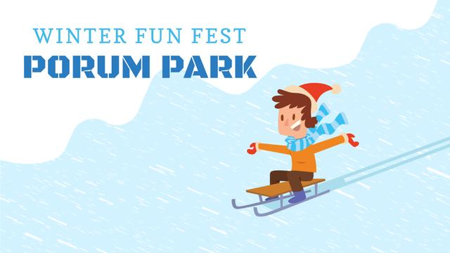 Winter Fest Invitation Kid Enjoying Sledge Ride Full HD video Tasarım Şablonu