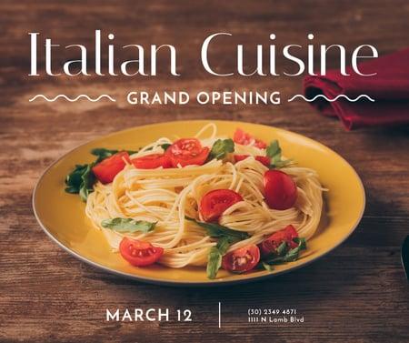 Designvorlage Pasta Restaurant opening tasty Italian Dish für Facebook