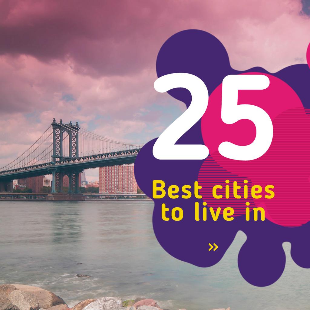 New York City Bridge View | Square Video Template — Create a Design