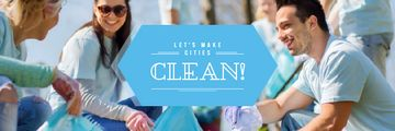 Ecological Event Volunteers Collecting Garbage | Email Header Template