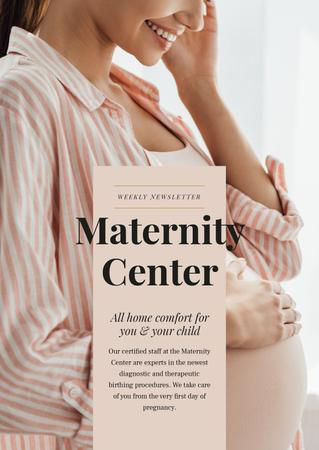 Maternity Center ad with happy Pregnant woman Newsletter Modelo de Design