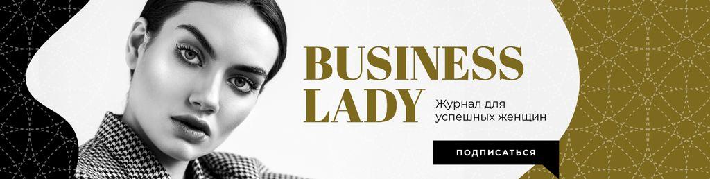 Confident Young Businesswoman in Black and White — ein Design erstellen