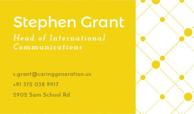Yellow Connections illustration Business card Tasarım Şablonu