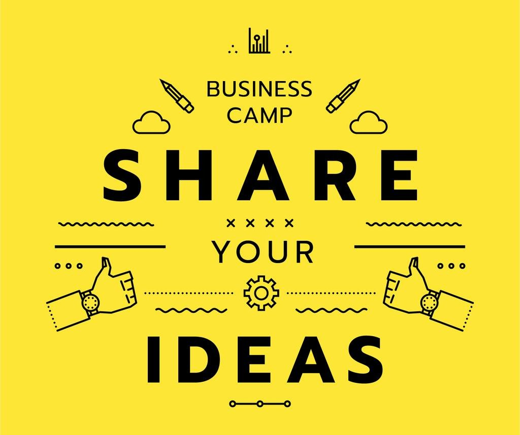 Business camp promotion icons in yellow — Maak een ontwerp