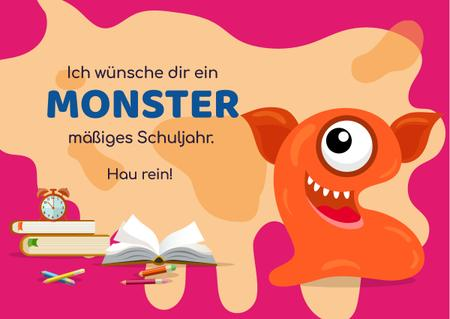 Plantilla de diseño de School Year Greeting with Monster Card